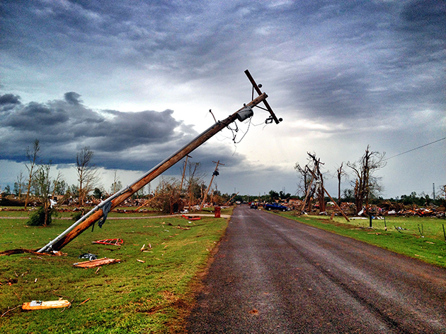 A downed utility pole along May Avenue in South Oklahoma City. (Holly Bailey/Yahoo News)