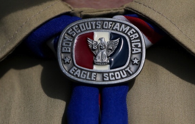 A detial view of a Boy Scout uniform on February 4, 2013 in Irving, Texas. (Tom Pennington/Getty)