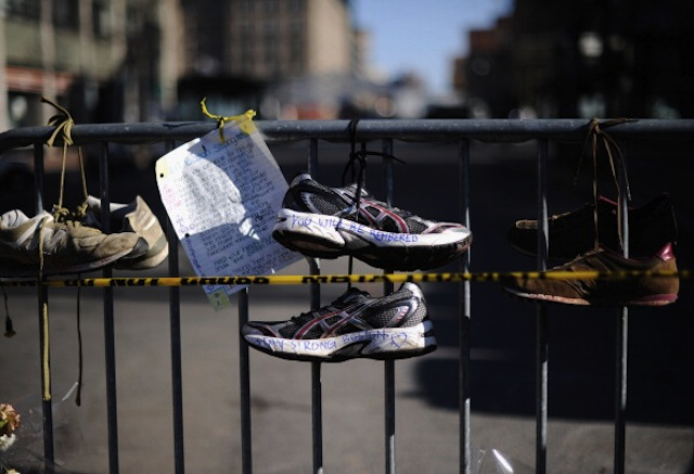A makeshift memorial near the finish line of the Boston Marathon (Kevork Djansezian/Getty)