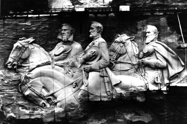 Carving of Jefferson Davis and Gens. Robert E Lee and Stonewall Jackson. (Fox Photos/Getty Images)