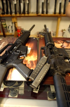 Two AR-15 rifles in a gun store in Colorado (Getty Images)