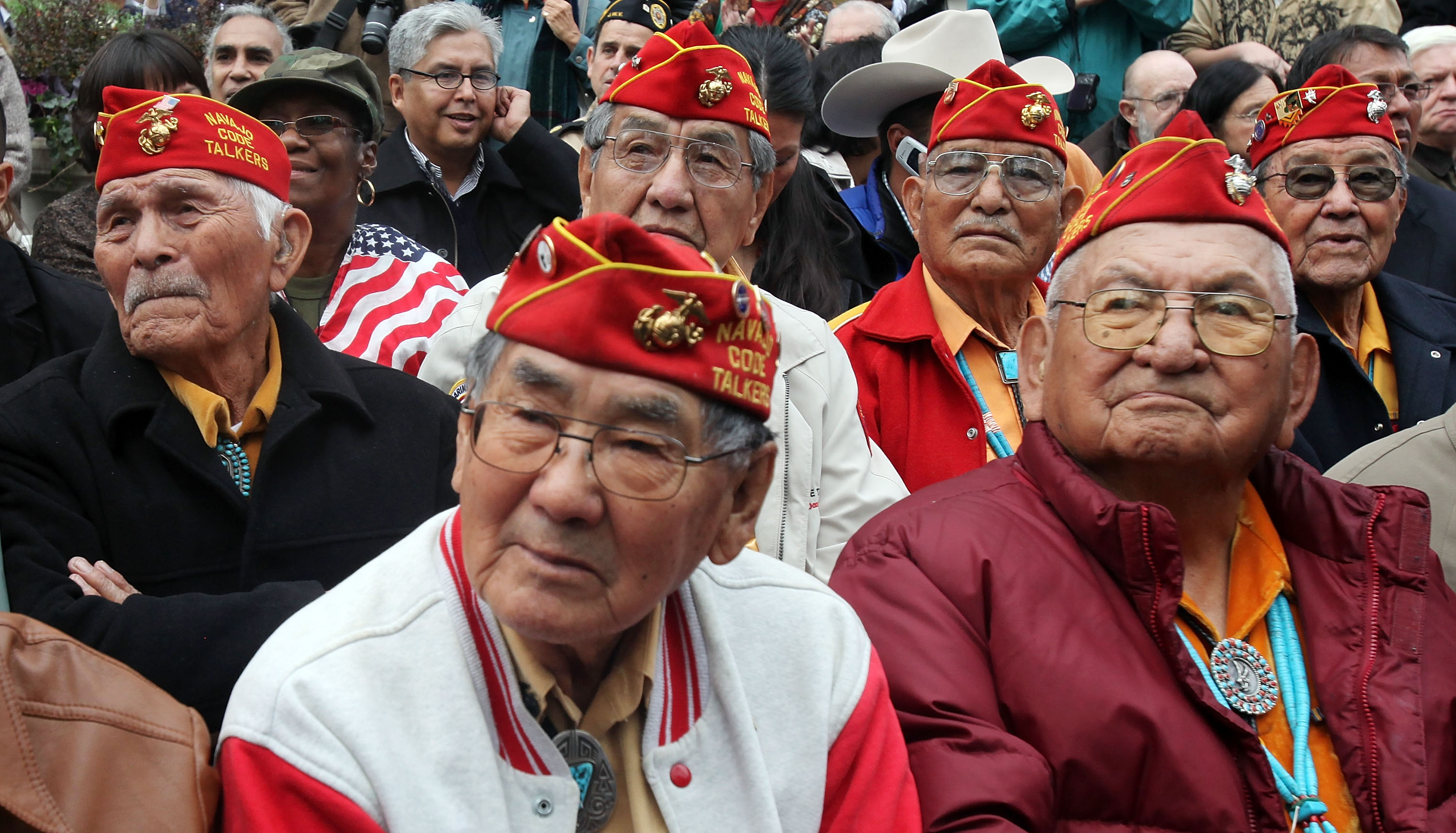 Members of the elite Navajo Code Talkers, the U.S. Marine unit that delivered unbreakable codes during World War II battles against the Japanese, on Veterans Day, Nov. 11, 2009, in NYC. (Getty)