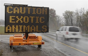 A sign warns motorists of the dozens of escaped animals (AP)