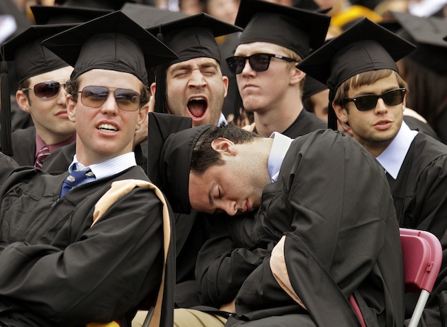 Boston College graduates from the university's Carrol School of Management at commencement Monday. (Stephan Savoia/AP)