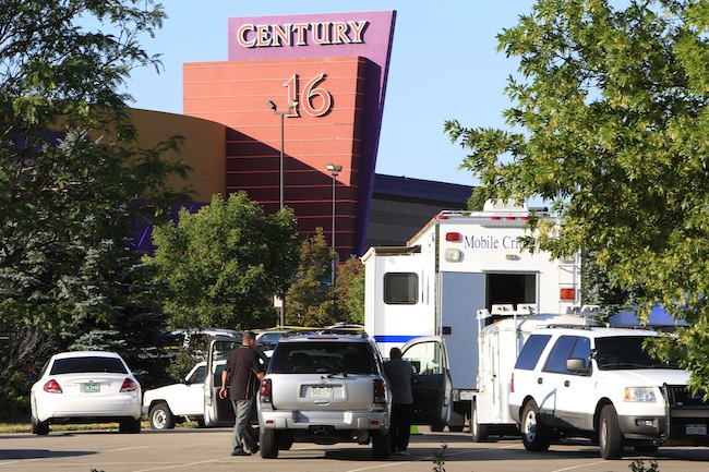 Emergency vehicles outside Century 16 in Aurora, Colorado on Friday. (David Zalubowski/AP)