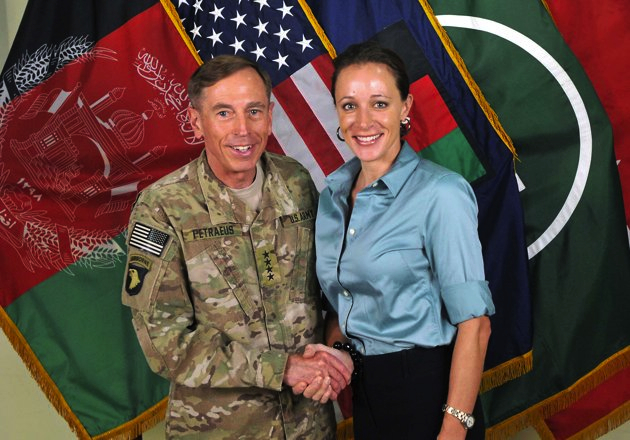 Former CIA Director David Petraeus and author Paula Broadwell pose for a photo. (AP)