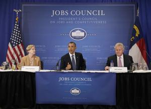 President Barack Obama at a meeting with the Jobs and Competitiveness Council, June 13, 2011: Carolyn Kaster/AP