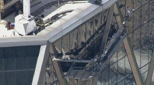 Two window washers were rescued from a NYC skyscraper after their scaffolding collapsed. (Courtesy NBC New York)