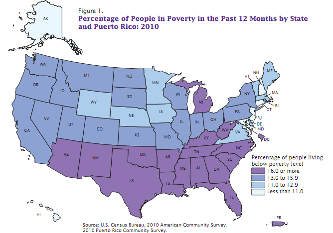 Poverty rates in 2010 by state (U.S. Census)
