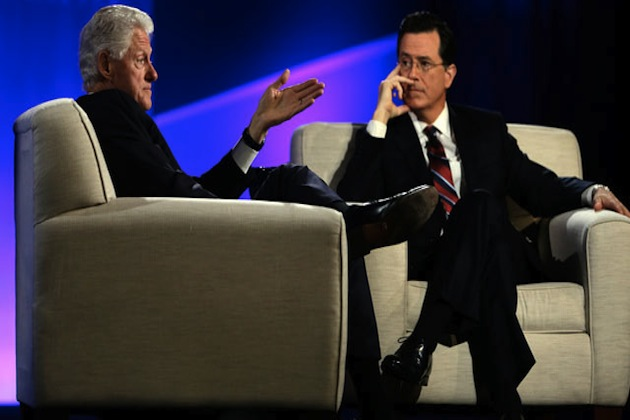 Bill Clinton gets a Twitter lesson from Stephen Colbert. (AP/ABC OTUS News)
