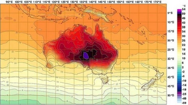 Australia weather map adds new colors for record breaking heat (Image via Bureau of Meteorology)