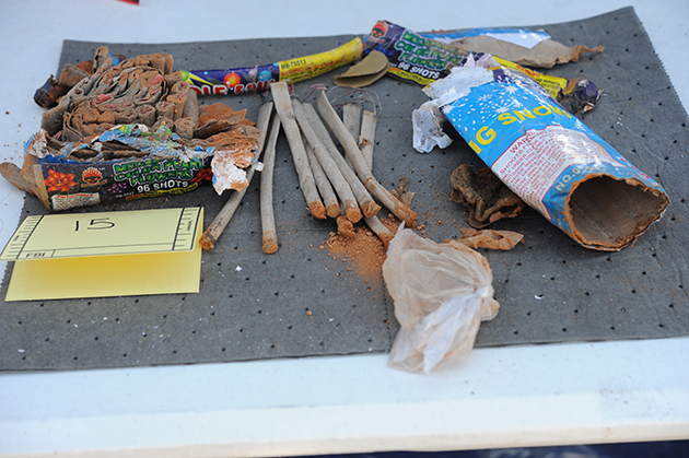Fireworks found in a backpack allegedly owned by Boston Marathon bombing suspect Dzhokhar Tsarnaev (via DOJ)
