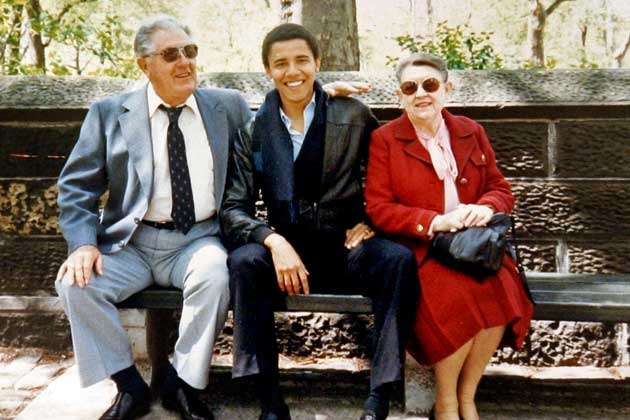 This undated photo shows Barack Obama with his grandparents Stanley Armour Dunham and Madelyn Lee Payne. (Obama family/AP)