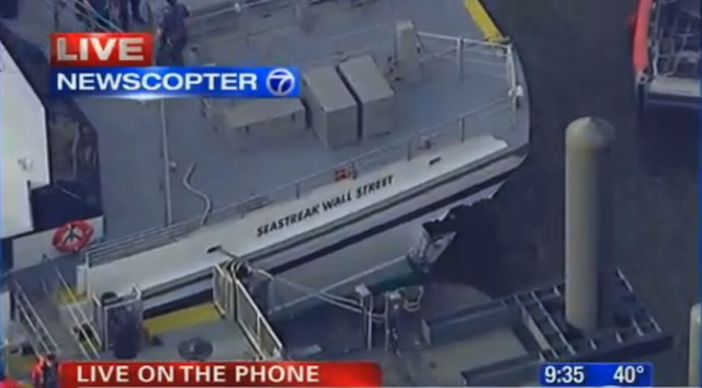 The crash left this gash in the side of the ferry. (ABC News)