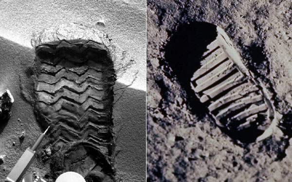 Left: Mars print (NASA); right: moon print (NASA/AP)