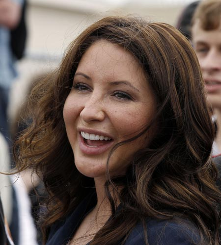 In this May 29, 2011 file photo, Bristol Palin, daughter of former GOP vice presidential candidate and Alaska governor Sarah Palin, smiles at the beginning of the Rolling Thunder ride from the Pentagon during the Memorial Day weekend in Washington. (AP Photo/Alex Brandon, File)