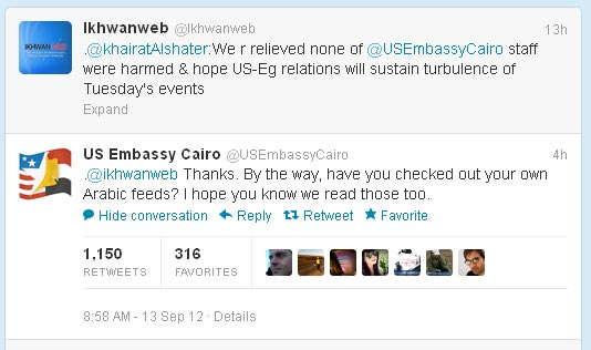 U.S. Embassy calls out Muslim Brotherhood for conflicting tweets