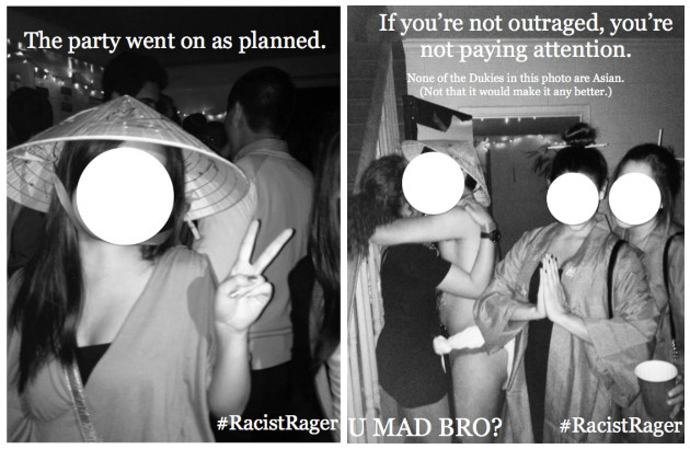 Fliers protesting a themed party hosted by a Duke fraternity (Asian Students Association)