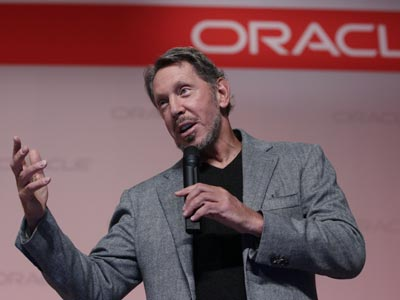 Oracle CEO Larry Ellison speaks at the SPARC SuperCluster conference at Oracle headquarters in Redwood City, Calif., Monday, Sept. 26, 2011. (AP Photo/Paul Sakuma)