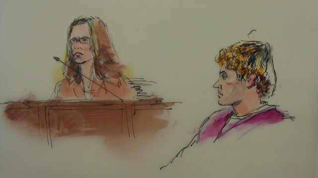 Courtroom sketch of Dr. Lynne Fenton and shooting suspect James Holmes (Bill Robles)
