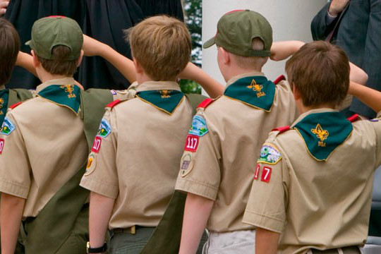 Boy Scouts recite the Pledge of Allegiance in Charlottesville, Va. (Getty)