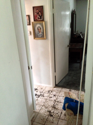 The hallway where the Jones family escaped the twister. (Jason Sickles/Yahoo News)