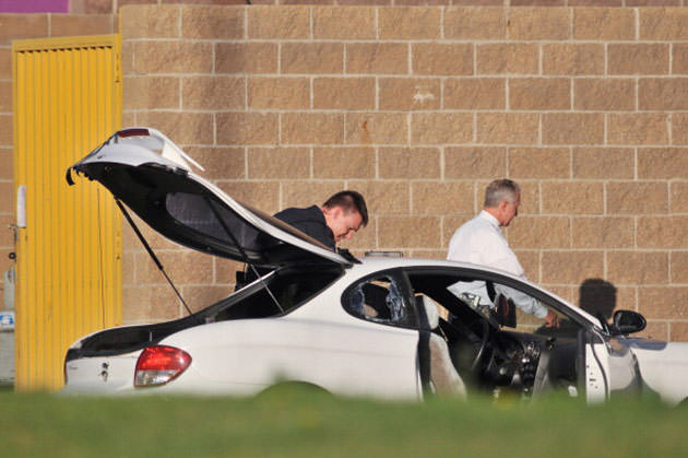 James Holmes' car behind the Aurora, Colo., movie theater in July (File/Getty Images)