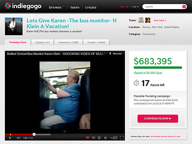 Screenshot of campaign for Karen Klein (Indiegogo.com)