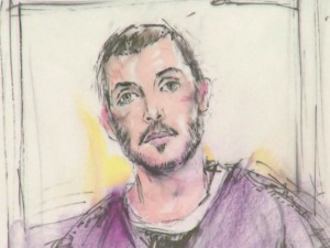 James Holmes on Thursday (Sketch/Bill Robles)