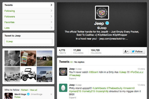 A screengrab of Jeep's hacked feed (Twitter)