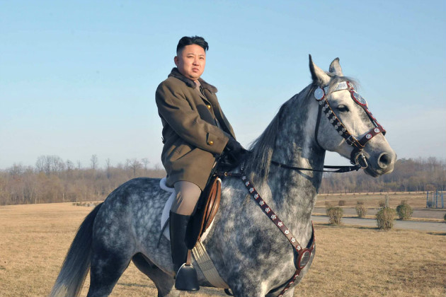 Kim Jong Un on horseback in an undated photo (KNS/Getty Images)