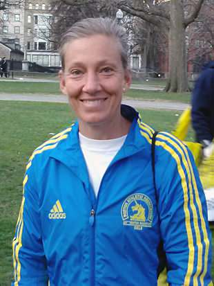 Laura Cummins before the Boston Marathon. (Courtesy photo)