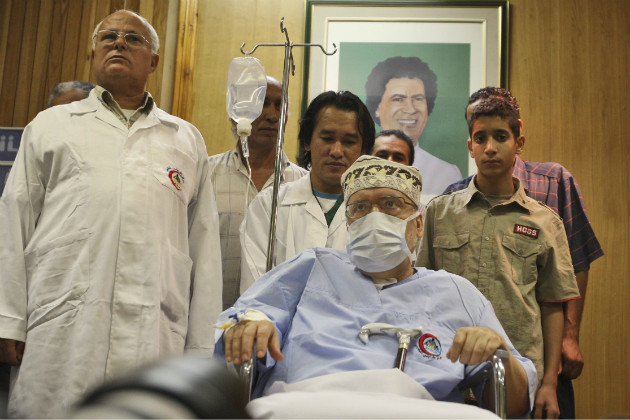 Abdel Basset Ali al-Megrahi, seated, in a Tripoli hospital in 2009. (AP/File)