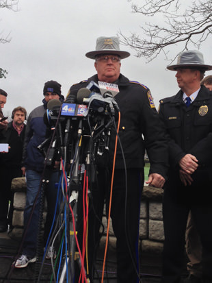 Connecticut state police spokesman Lt. Paul Vance speaks to the media on Monday. (Jason Sickles/Yahoo News)