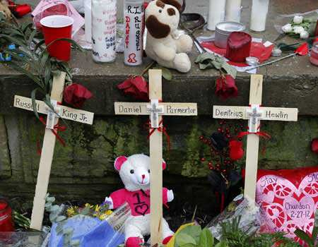 A memorial created for the boys killed in the attack on Feb. 27. 2012. (AP)