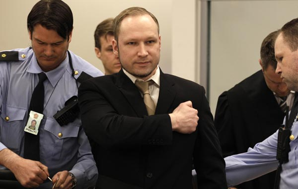 Accused Norwegian Anders Behring Breivik Monday, April 16, 2012, in Oslo, Norway. (Frank Augstein/AP)
