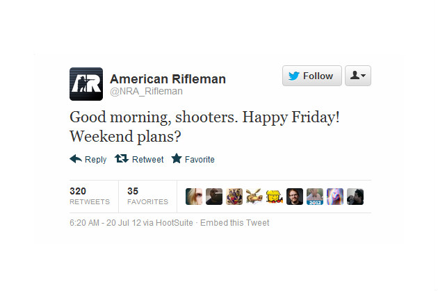NRA magazine and Celebboutique.com delete tweets after Colorado theater shooting