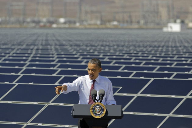 President Obama speaks at a solar field in Nevada, March 21, 2012. (Julie Jacobson/AP)