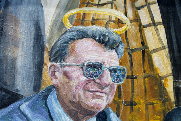 Paterno shown in a mural in downtown State College, Pa., July 12, 2012. (Gene J. Puskar/AP)