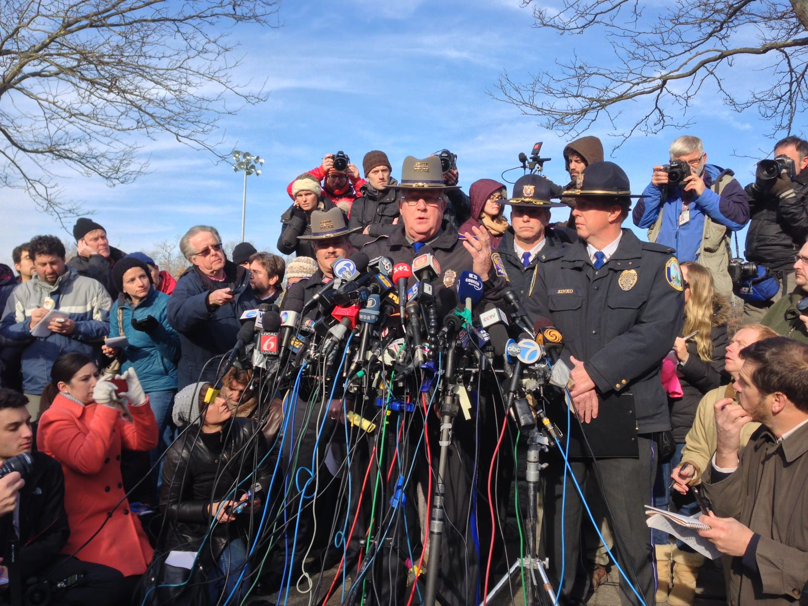 Conn. State police spokesman Lt. Paul Vance at Saturday morning's news conference. (Jason Sickles/Yahoo News)