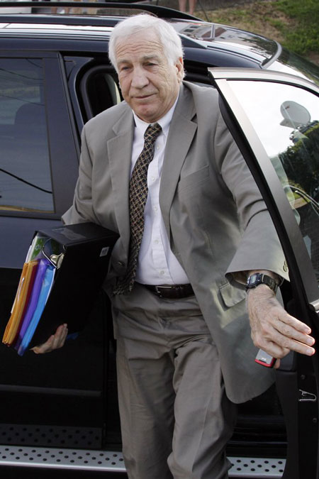 Former Penn State assistant football coach Jerry Sandusky arrives for the first day of his trial Monday, June 11, 2012. (Gene J. Puskar/AP)