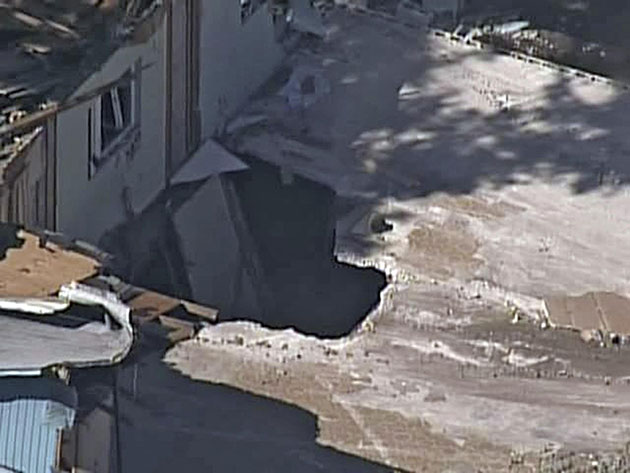 Aerial view of the sinkhole in Seffner, Fla. (AP Photo/ABC Action News-WFTS TV)