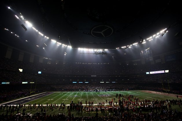 The Superdome in New Orleans after a power surge on Feb. 3, 2013. (Dilip Vishwanat/Getty)
