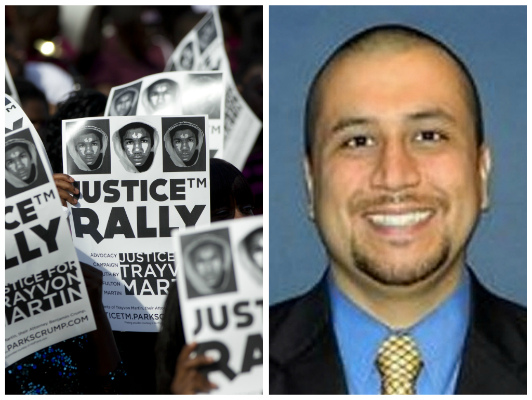A rally for Trayvon Martin; George Zimmerman in an recent, undated photo (AP)