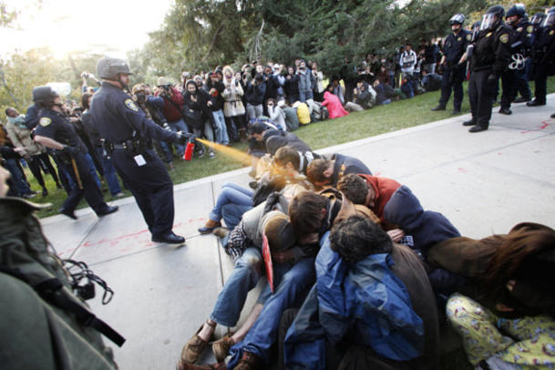 Students being pepper-sprayed at a UC Davis Occupy event. (AP)