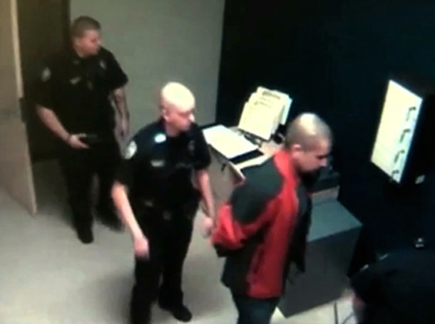 Zimmerman in police custody (Sanford Police Dept.)
