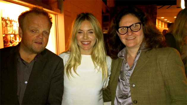 Our intrepid reporter Thelma Adams (right) with Toby Jones and Sienna Miller (Photo: Thelma Adams)
