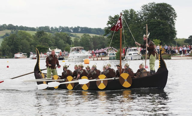 Men and women dressed as Vikings in Henley-on-Thames, U.K. (Darren Fletcher-WPA Pool/Getty Images)