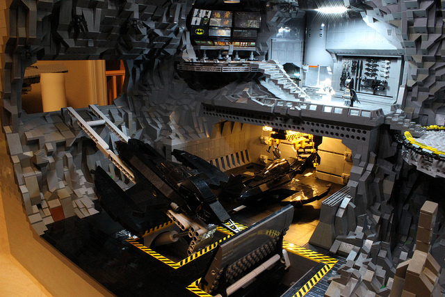 Another view of the massive Lego Batcave (Flickr)