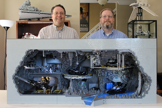 Carlyle Livingston II and Wayne Hussey stand behind their massive Lego creation. (Flickr)
